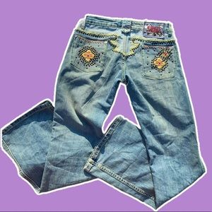 Y2k Embroidered Bootcut Jeans